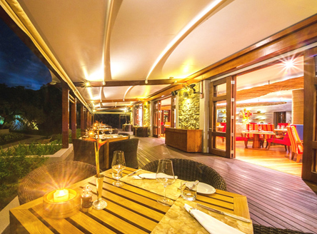 3 covered dining areas at Kempinski Seychelles