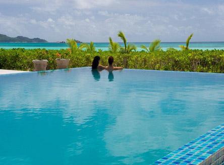 Swimming Pool at Acajou Hotel, Praslin Island Seychelles