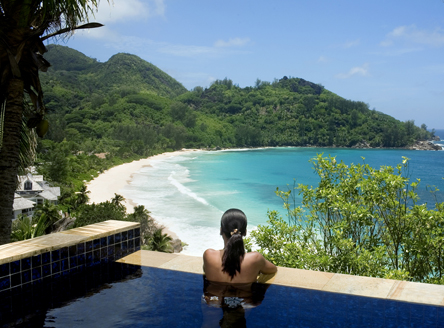 View over Anse Intendance Bay from Banyan Tree Seychelles