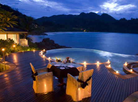 Romantic in-villa dining at Banyan Tree Seychelles
