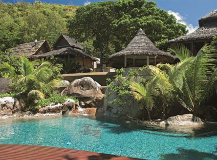 Main pool at Constance Lemuria on Praslin Island