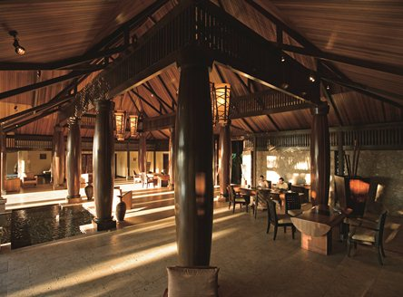 Main restaurant and bar area at Constance Lemuria Seychelles