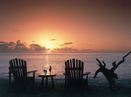 Romantic Seychelles sunsets on Denis Private Island