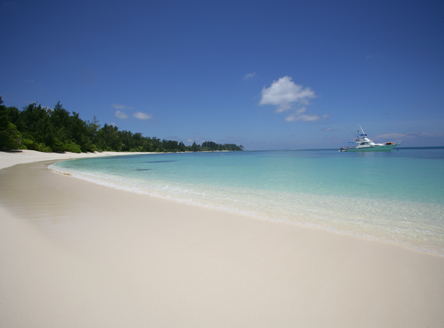 Spectacular white sand beaches of Denis Island Seychelles