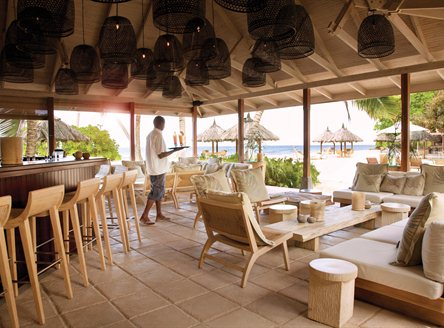 The gorgeous beachside bar at Desroches Island