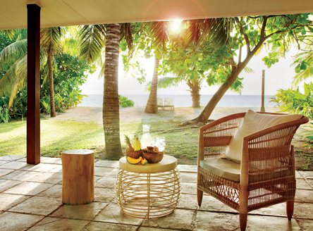 Relax on your private terrace at Desroches Island just steps from the beach!