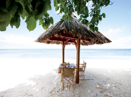 Beautiful spot for breakfast on the beach at Desroches Island