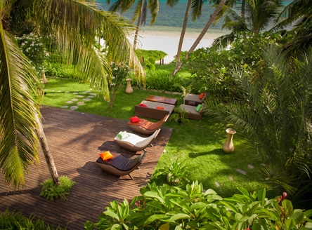 Lovely gardens at Dhevatara Beach Hotel Seychelles