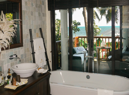 Luxurious bathrooms at Dhevatara Beach Hotel Seychelles