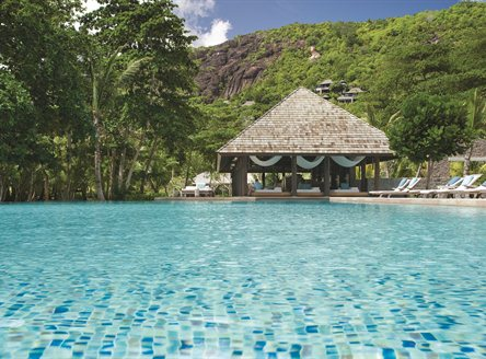 Large swimming pool at Four Seasons Seychelles
