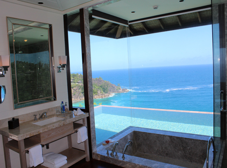 Your Villa Bathroom with spectacular outlook at Four Seasons Seychelles