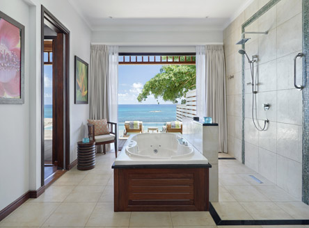 New King Size Deluxe Ocean View Pool Villa bathroom at Hilton Seychelles Northolme