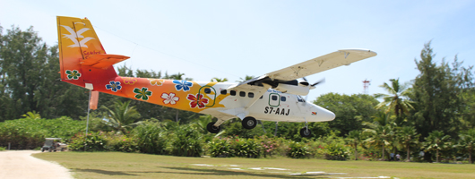 Inter-island flight transfer landing on Denis Island Seychelles