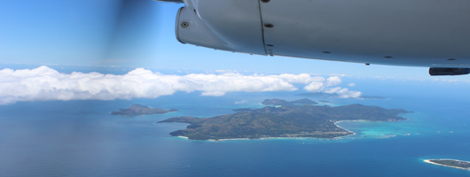 View of Praslin Island taken whilst on a inter-island flight