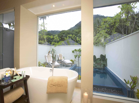 View of plunge pool from your Beach Villa bathroom at Hilton Labriz Beach Villa