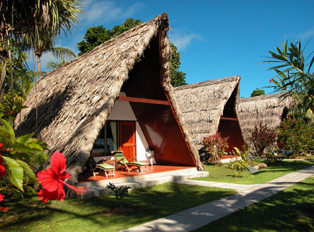 A-frame accommodation at La Digue Island Lodge