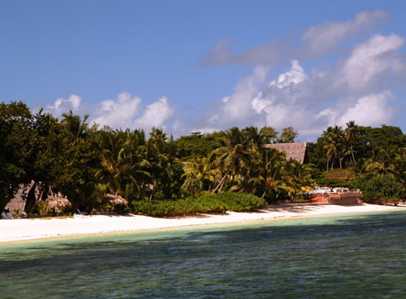 La Digue Island Lodge is beside a west-facing beach