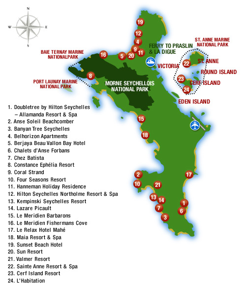 Seychelles Holidays Mahe Island Map justseychellescom