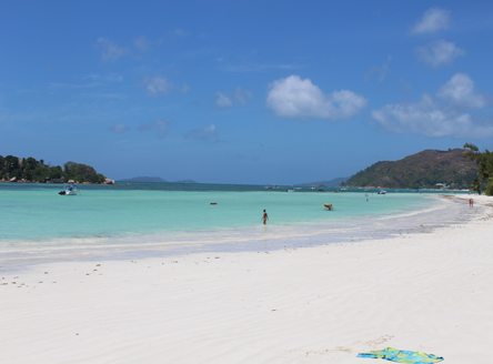Beautiful Cote d'Or beach on Praslin Island