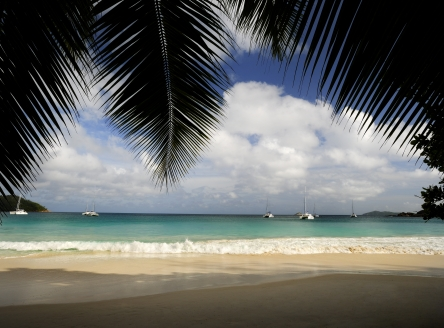 One of the beaches at Raffles Praslin Seychelles