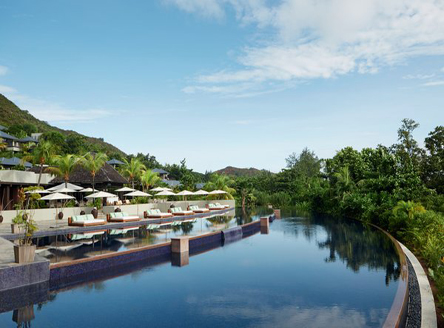 Large main pool at Raffles Seychelles