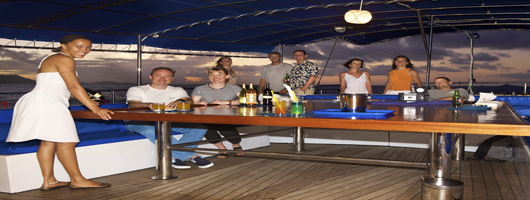 Seychelles alfresco dining on the back deck of Sea Bird