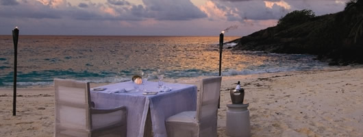 Romantic beach dining on your luxury Honeymoon in Seychelles